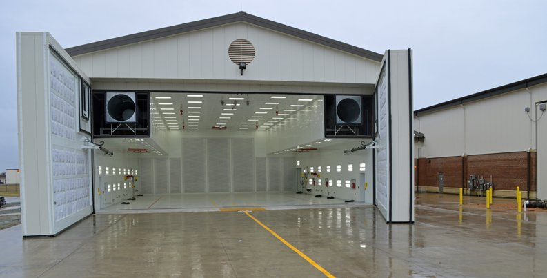 Doors open on the F22 Paint Booth Hangar at Langley AFB, Virginia.