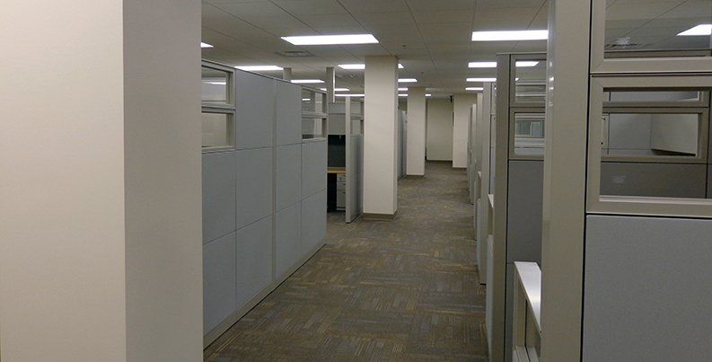 Cubicle area in Combat Services Support Facility